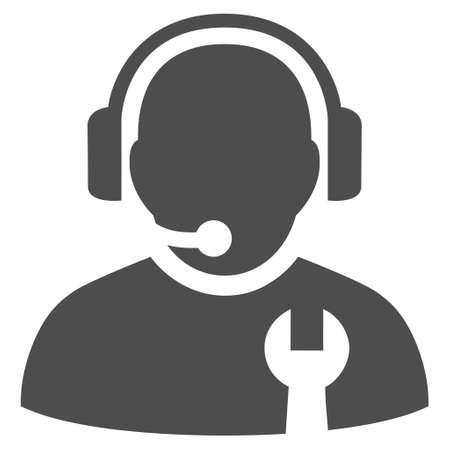 head phones: Service Operator vector icon. Style is flat icon symbol, gray color, white background.