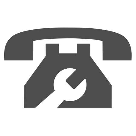 Service Phone vector icon. Style is flat icon symbol, gray color, white background.