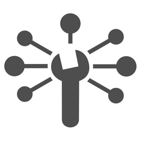 config: Service Relations vector icon. Style is flat icon symbol, gray color, white background.