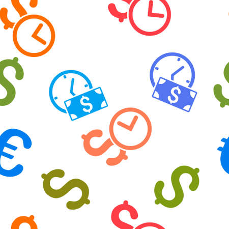 timed: Credit vector seamless repeatable pattern. Style is flat credit and dollar symbols on a white background.