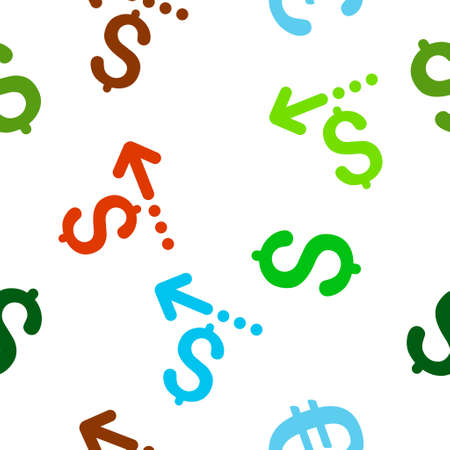 moneyback: Refund vector seamless repeatable pattern. Style is flat refund and dollar symbols on a white background.