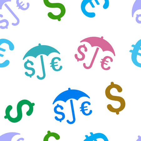 financial protection: Financial Protection glyph seamless repeatable pattern. Style is flat financial protection and dollar symbols on a white background.