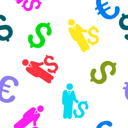 investor: Investor vector seamless repeatable pattern. Style is flat investor and dollar symbols on a white background.