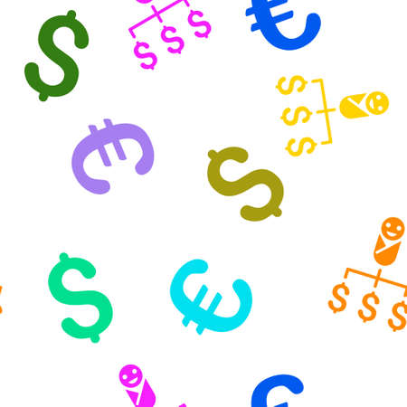 expenses: Kid Expenses vector seamless repeatable pattern. Style is flat kid expenses and dollar symbols on a white background.