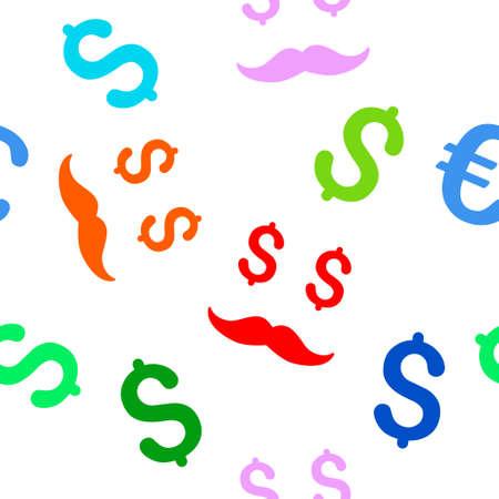 millonario: Millonario bigote vector patrón repetible sin fisuras. El estilo es llano bigote millonario y dólar símbolos sobre un fondo blanco.