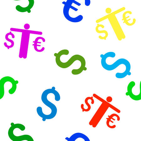compare: Person Compare Euro Dollar vector seamless repeatable pattern. Style is flat person compare euro dollar and dollar symbols on a white background. Illustration