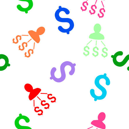 expenses: Person Expenses vector seamless repeatable pattern. Style is flat person expenses and dollar symbols on a white background. Illustration