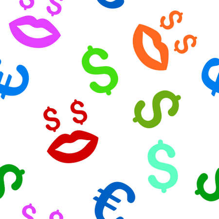 prostitution: Prostitution Smiley vector seamless repeatable pattern. Style is flat prostitution smiley and dollar symbols on a white background.