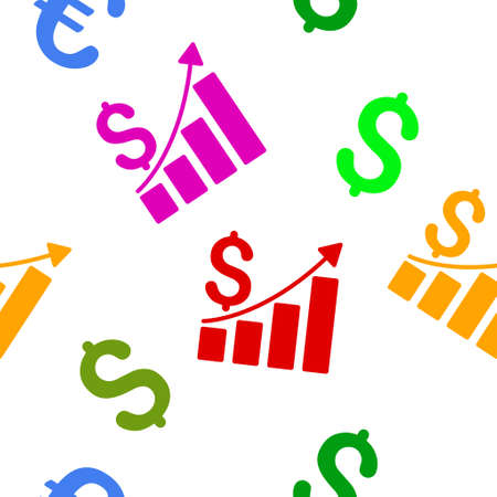 sales growth: Sales Growth Chart vector seamless repeatable pattern. Style is flat sales growth chart and dollar symbols on a white background. Illustration