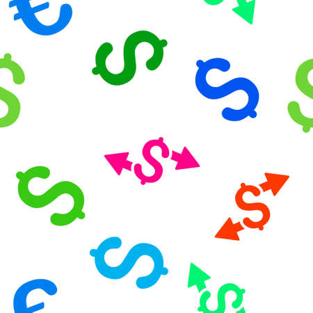 spend: Spend Money vector seamless repeatable pattern. Style is flat spend money and dollar symbols on a white background.