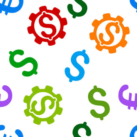 price development: Development Price vector seamless repeatable pattern. Style is flat development price and dollar symbols on a white background.