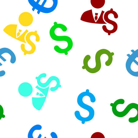 banker: Banker glyph seamless repeatable pattern. Style is flat banker and dollar symbols on a white background.