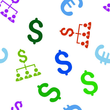 banker: Banker Links glyph seamless repeatable pattern. Style is flat banker links and dollar symbols on a white background.