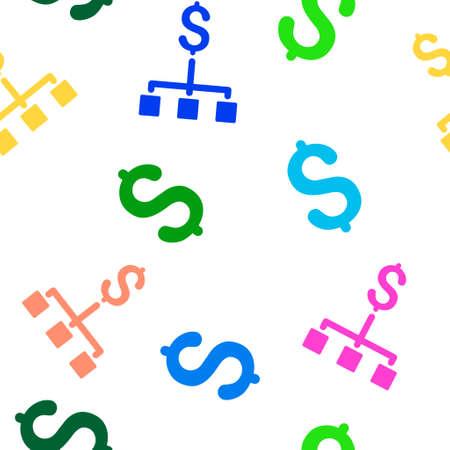 jerarquia: Jerarquía glifo financiera patrón repetible sin fisuras. El estilo es de jerarquía plana y dólar símbolos financieros sobre un fondo blanco.