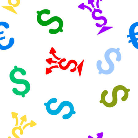 append: Financial Aggregator glyph seamless repeatable pattern. Style is flat financial aggregator and dollar symbols on a white background.
