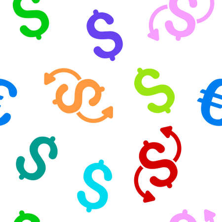 money transfer: Money Transfer glyph seamless repeatable pattern. Style is flat money transfer and dollar symbols on a white background.