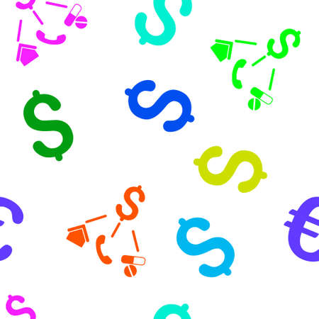 expenses: Life Expenses glyph seamless repeatable pattern. Style is flat life expenses and dollar symbols on a white background. Stock Photo