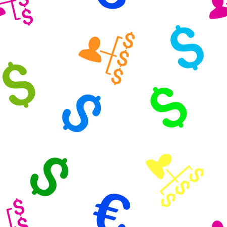 payer: Payer Relations glyph seamless repeatable pattern. Style is flat payer relations and dollar symbols on a white background.