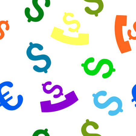 payphone: Payphone glyph seamless repeatable pattern. Style is flat payphone and dollar symbols on a white background. Stock Photo