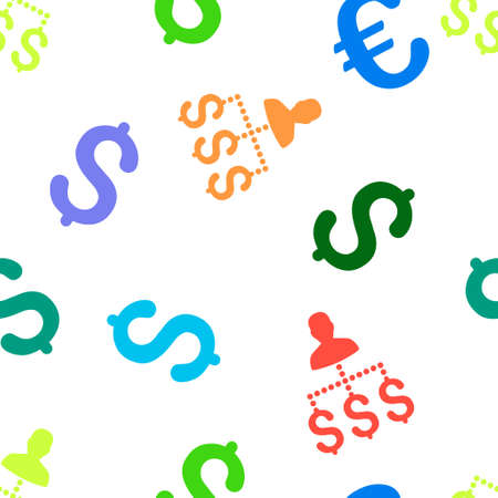 payer: User Payments glyph seamless repeatable pattern. Style is flat user payments and dollar symbols on a white background.