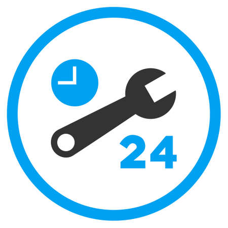 config: Nonstop Service Hours vector bicolor icon. Image style is a flat icon symbol inside a circle, blue and gray colors, white background.