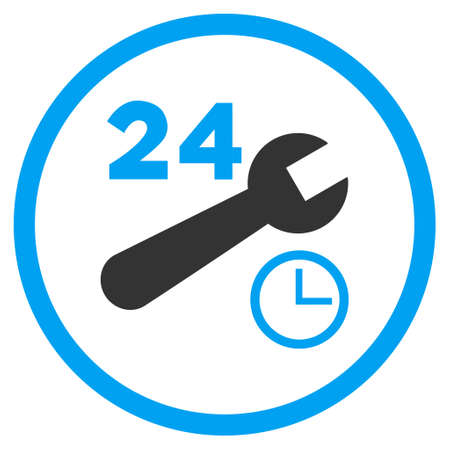nonstop: Nonstop Service Hours vector bicolor icon. Image style is a flat icon symbol inside a circle, blue and gray colors, white background.