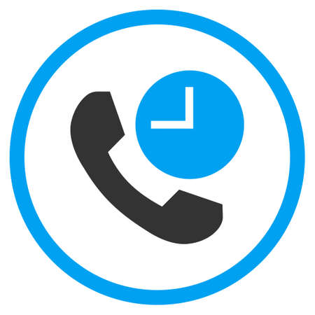 phone time: Phone Time vector bicolor icon. Image style is a flat icon symbol inside a circle, blue and gray colors, white background.