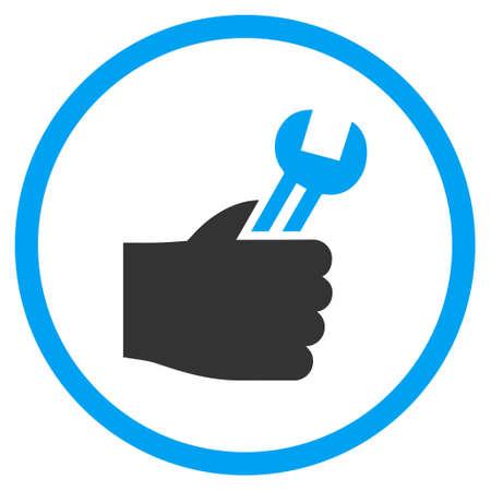 Service Hand vector bicolor pictogram. Stijl van de afbeelding is een platte pictogram symbool binnen een cirkel, blauwe en grijze kleuren, witte achtergrond.