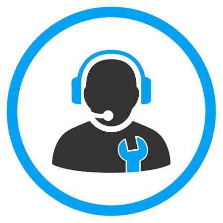 Dienst Operator vector bicolor icoon. Afbeelding stijl is een vlakke icoon symbool binnen een cirkel, blauwe en grijze kleuren, witte achtergrond. Vector Illustratie