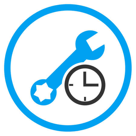 clock icon: Service Time vector bicolor icon. Image style is a flat icon symbol inside a circle, blue and gray colors, white background. Illustration