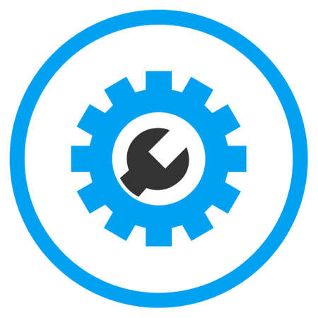 config: Tech Maintenance vector bicolor icon. Image style is a flat icon symbol inside a circle, blue and gray colors, white background.