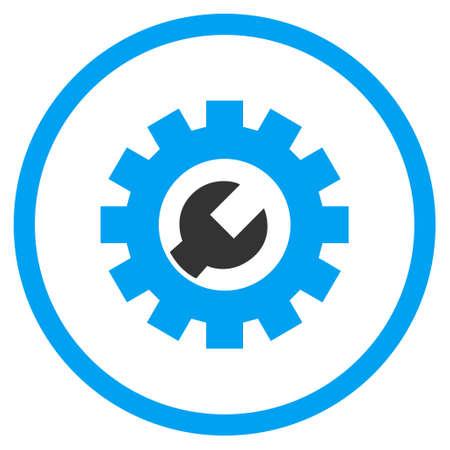 Tech onderhoud vector bicolor pictogram. Stijl van de afbeelding is een platte pictogram symbool binnen een cirkel, blauwe en grijze kleuren, witte achtergrond.