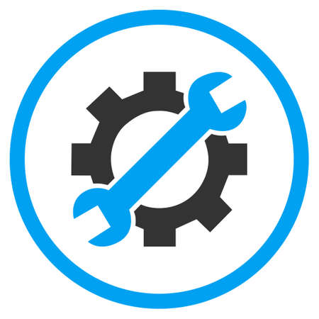 hardware configuration: Configuration Tools vector bicolor icon. Image style is a flat icon symbol inside a circle, blue and gray colors, white background. Illustration