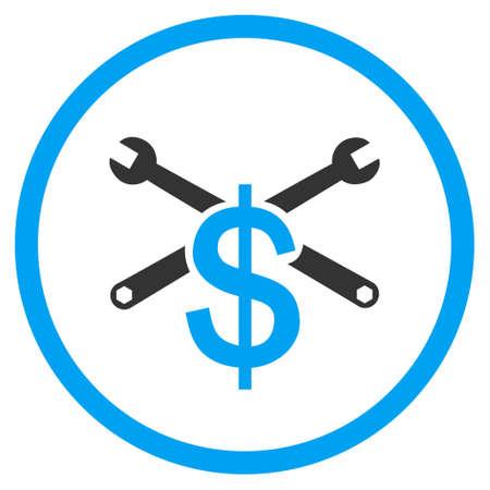 Service prijs vector bicolor pictogram. Stijl van de afbeelding is een platte pictogram symbool binnen een cirkel, blauwe en grijze kleuren, witte achtergrond. Vector Illustratie