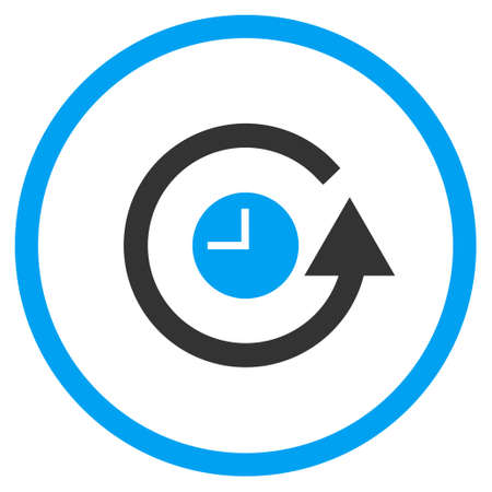 clock icon: Restore Clock glyph bicolor icon. Image style is a flat icon symbol inside a circle, blue and gray colors, white background.