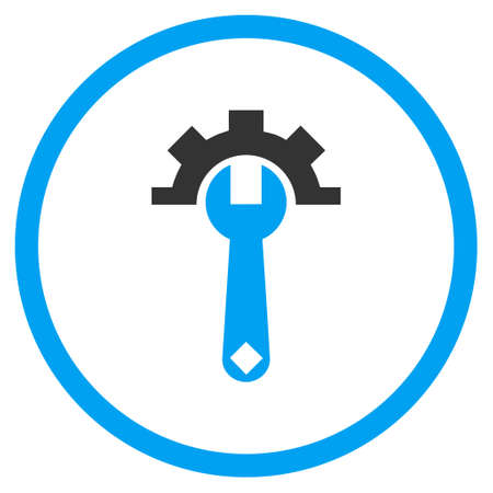 config: Mechanics Service Tools glyph bicolor icon. Image style is a flat icon symbol inside a circle, blue and gray colors, white background.
