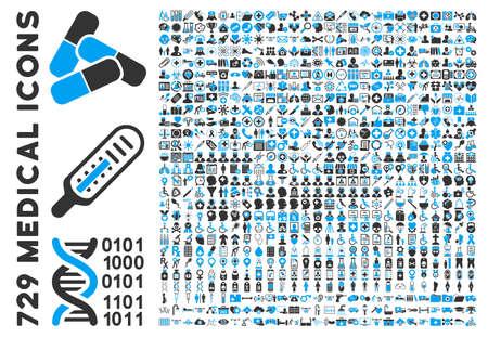 Médical Clipart Icône avec 729 icônes vectorielles. Le style est bicolor bleu et gris icônes plats isolés sur un fond blanc. Vecteurs