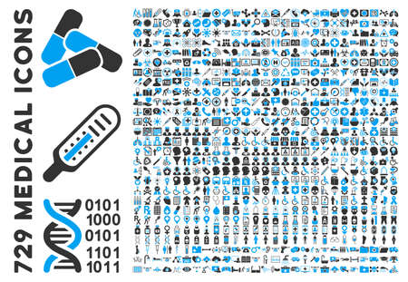 approvement: Medical Icon Set with 729 glyph icons. Style is bicolor blue and gray flat icons isolated on a white background. Stock Photo