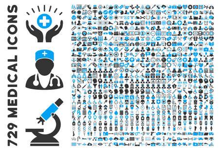Colección icono médico con 729 iconos de glifos. El estilo es iconos planos azules y grises bicolor aislado en un fondo blanco.