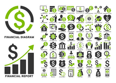 international monitoring: Dollar Finances Flat Glyph Icons with Captions. Style is named bicolor eco green and gray flat icons isolated on a white background. Stock Photo