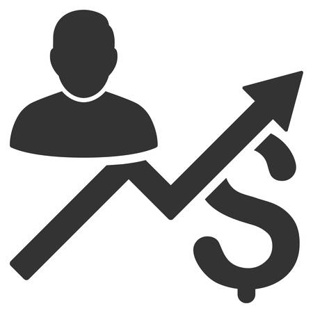 sales chart: Client Sales Chart icon. Vector style is flat iconic symbol with rounded angles, gray color, white background.