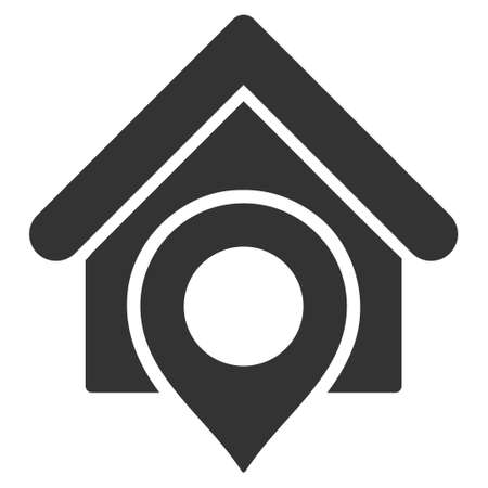 realty: Realty Location icon. Vector style is flat iconic symbol with rounded angles, gray color, white background.