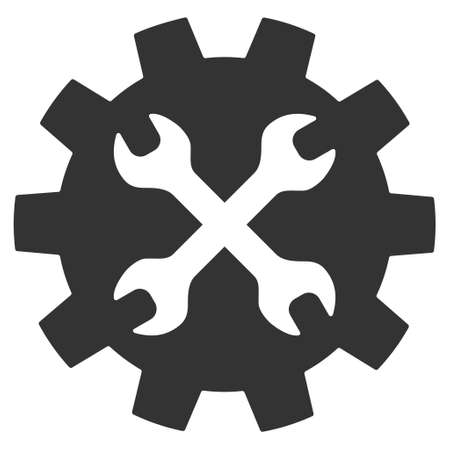 hardware configuration: Tools icon. Vector style is flat iconic symbol with rounded angles, gray color, white background.