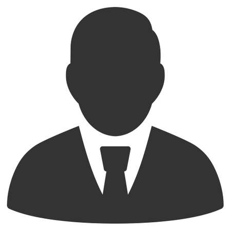 pictogram people: Manager icon. Glyph style is flat iconic symbol with rounded angles, gray color, white background.