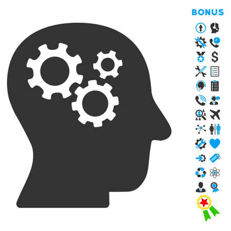 intellect: Intellect icon with bonus pictograms. Glyph style is bicolor flat iconic symbol with rounded angles, blue and gray colors, white background. Stock Photo