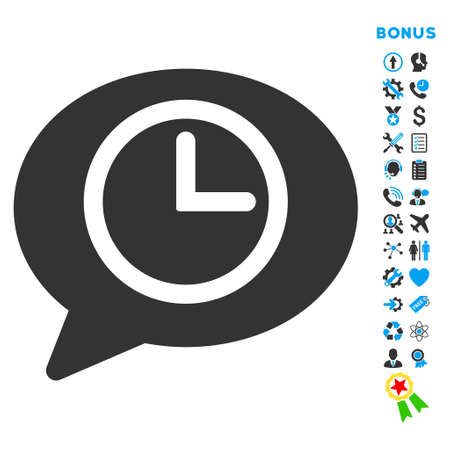 Message Time icon with bonus pictograms. Glyph style is bicolor flat iconic symbol with rounded angles, blue and gray colors, white background. Stock Photo