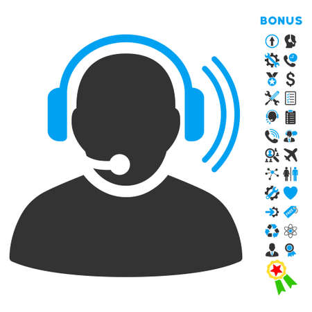headset voice: Operator Signal icon with bonus pictograms. Glyph style is bicolor flat iconic symbol with rounded angles, blue and gray colors, white background.