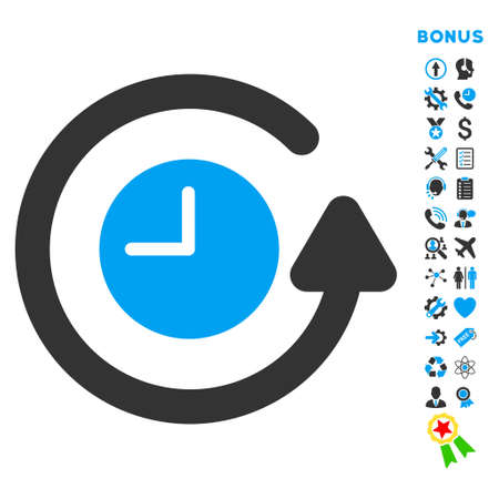 Restore Clock icon with bonus pictograms. Glyph style is bicolor flat iconic symbol with rounded angles, blue and gray colors, white background.