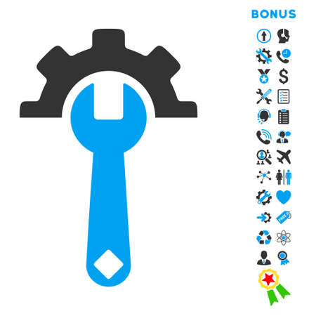 Service Tools icon with bonus pictograms. Glyph style is bicolor flat iconic symbol with rounded angles, blue and gray colors, white background. Stock Photo