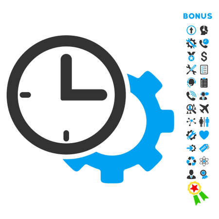 Time Setup icon with bonus pictograms. Glyph style is bicolor flat iconic symbol with rounded angles, blue and gray colors, white background. Stock Photo